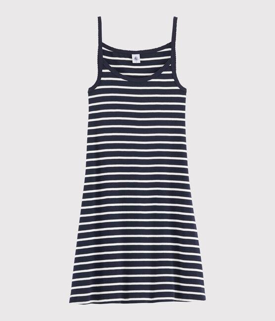 Women's strappy striped dress Smoking blue / Marshmallow white