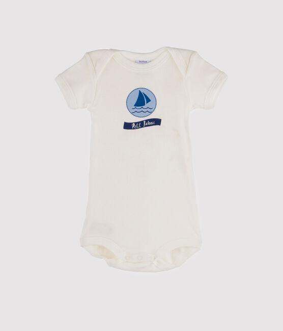 Baby Boys' Short-Sleeved Bodysuit Marshmallow white / Jasmin blue