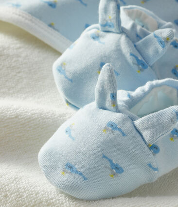 Babies' Square Bath Towel and Bootees Set in Terry and Rib Knit Fraicheur blue / Multico white
