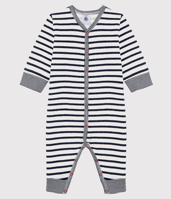 Unisex Babies' Striped Tube-Knit Footless Sleepsuit Marshmallow white / Smoking blue