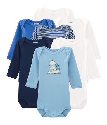 Surprise pack of 7 long-sleeved bodysuits for baby boys