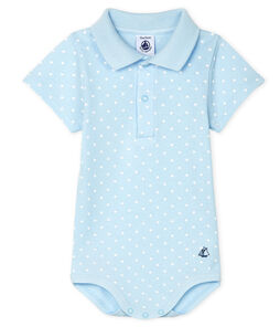 Baby Boys' Print Bodysuit with Polo Shirt Collar Fraicheur blue / Marshmallow white