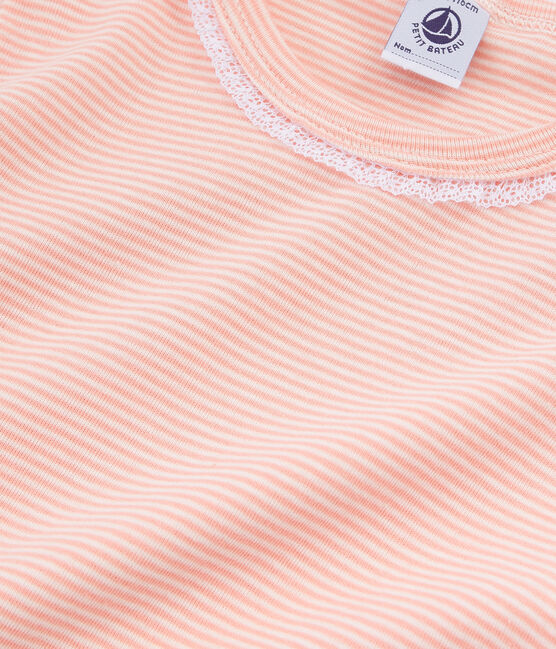 Girls' Short-sleeved Pyjamas Rosako pink / Marshmallow white