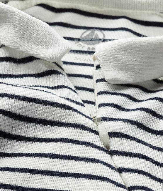 Babies' Ribbed Zipped Sleepsuit Marshmallow white / Smoking blue