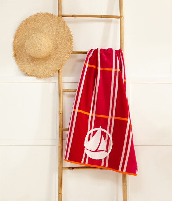 Beach towel Geisha pink / Multico white