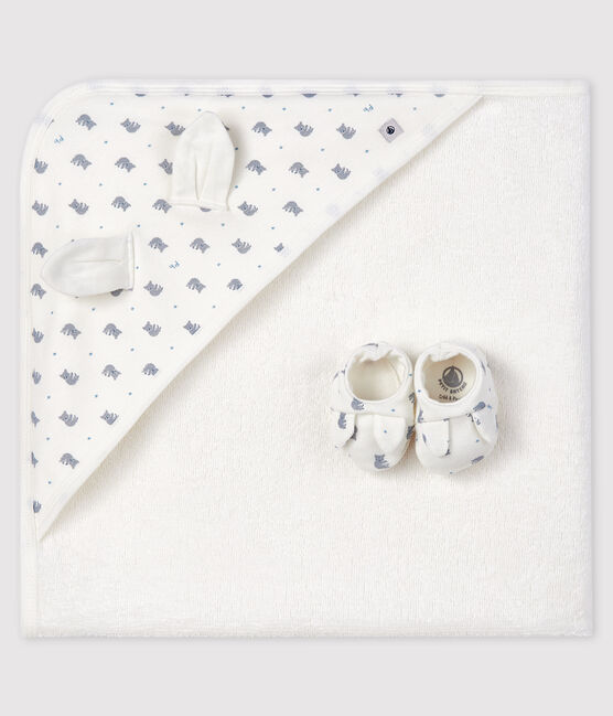 Babies' Square Bath Towel and Bootees Set in Terry and Rib Knit Marshmallow white / Gris grey