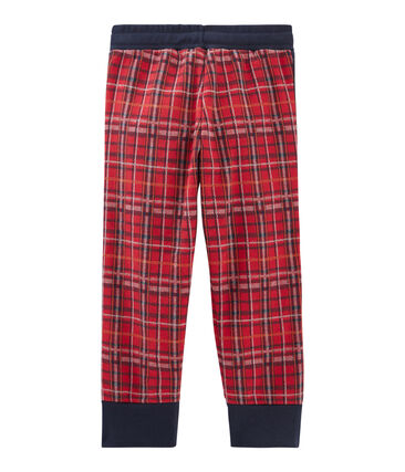 Boys' Tartan Knit Trousers Terkuit red / Smoking blue