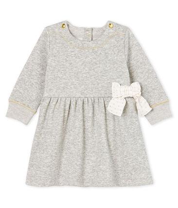 Baby Girls' Long-Sleeved Velour Knit Dress Beluga grey / Multico white