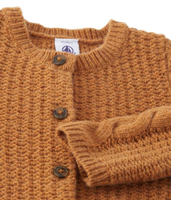 Baby girl's wool blend cardigan Cuivre brown
