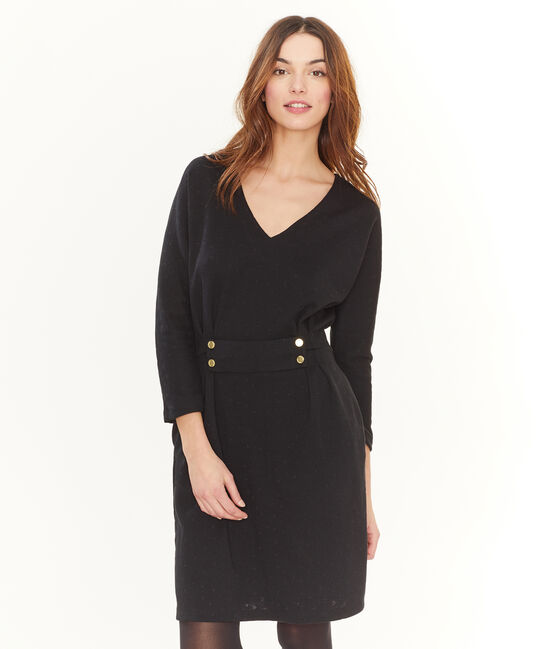 Women's Slim-Fit Long-Sleeved Dress Noir black / Lurex Noir black