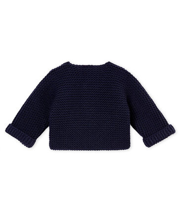 unisex baby's garter stitch cardigan Smoking blue