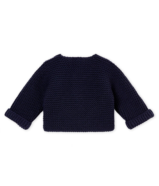 unisex baby's garter stitch cardigan Smoking blue