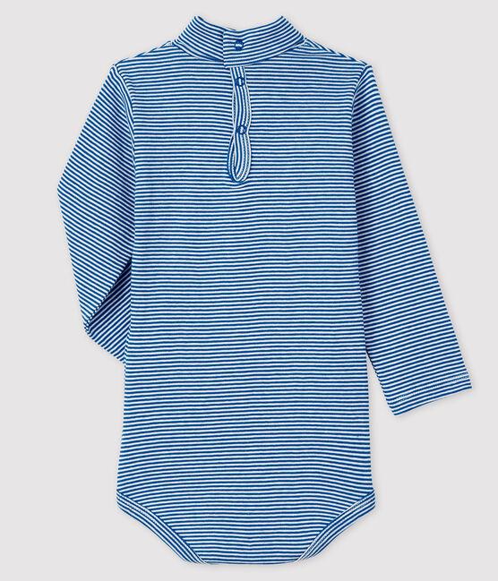 Baby's long-sleeved roll-neck bodysuit Ruisseau blue / Marshmallow white