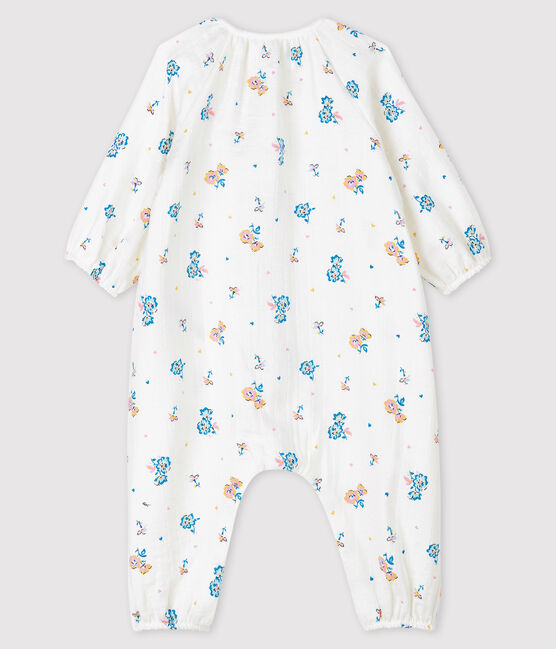 Baby Girls' Easy-Care Floral Print Jumpsuit Marshmallow white / Multico white