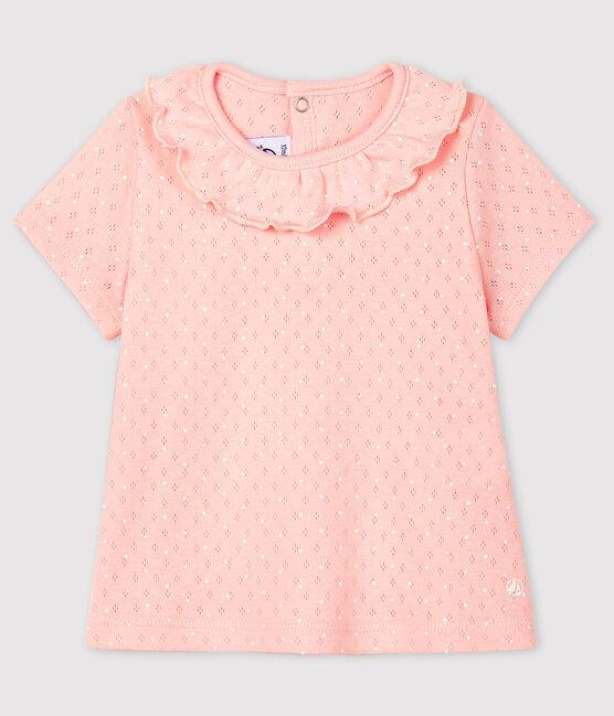 Baby Girls' Short-Sleeved Cotton Openwork Blouse Minois pink / Ecume white