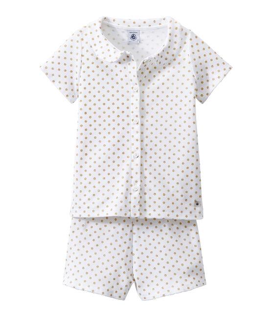 Girl's shortie pyjamas Ecume white / Dore yellow