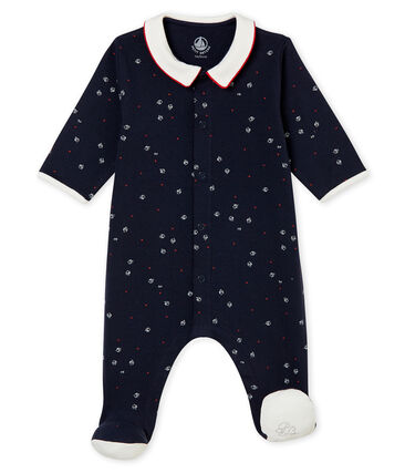 Baby boy's sleepsuit in brushed print soft cotton.