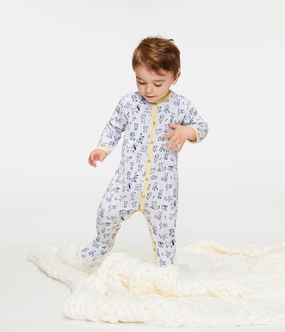 Baby Boys' Ribbed Sleepsuit Poussiere grey / Multico white