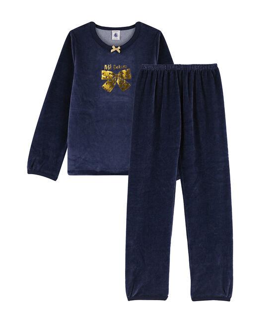Girls' Velour Pyjamas with Bow Smoking blue