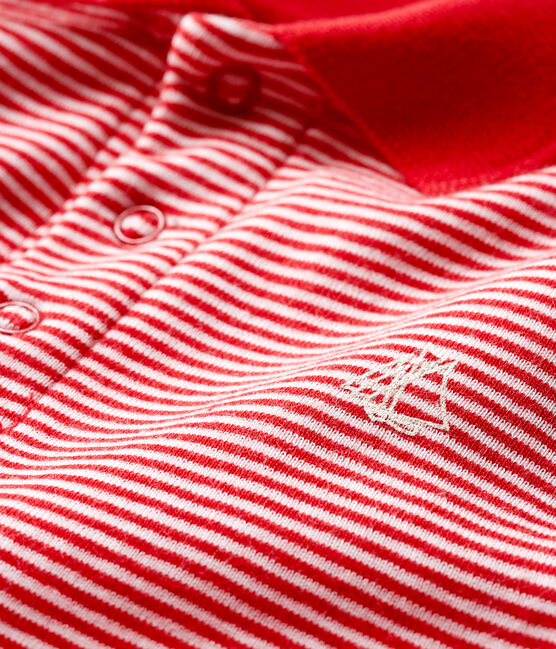 Baby Boys' Pinstriped Polo Shirt Bodysuit Terkuit red / Marshmallow white