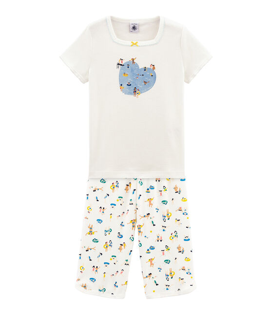 Girls' short Pyjamas Marshmallow white / Multico Cn white