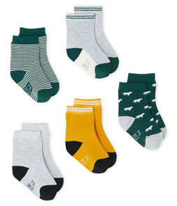 Baby Boys' Socks - 5-Piece Set Sousbois green / Multico white