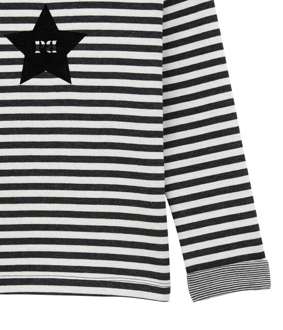 Boy's long sleeved double jersey T-shirt City black / Marshmallow white