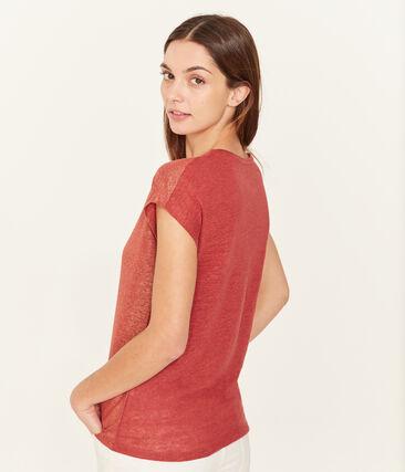Women's iridescent linen short-sleeved t-shirt Ombrie orange / Copper pink
