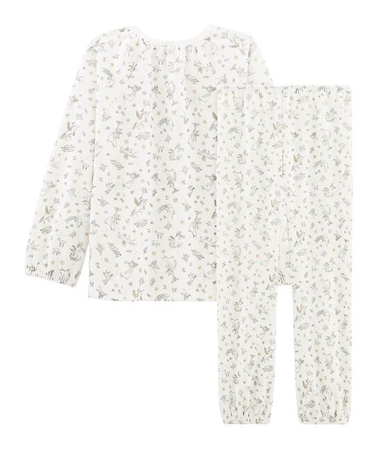Girls' Velour Pyjamas Marshmallow white / Multico Cn white