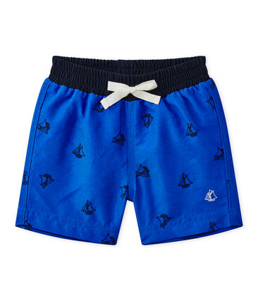 Baby boy's print beach shorts Perse blue / Smoking blue