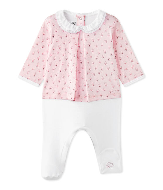 Baby girls' dual-fabric chemisette-all-in-one Vienne pink / Multico white