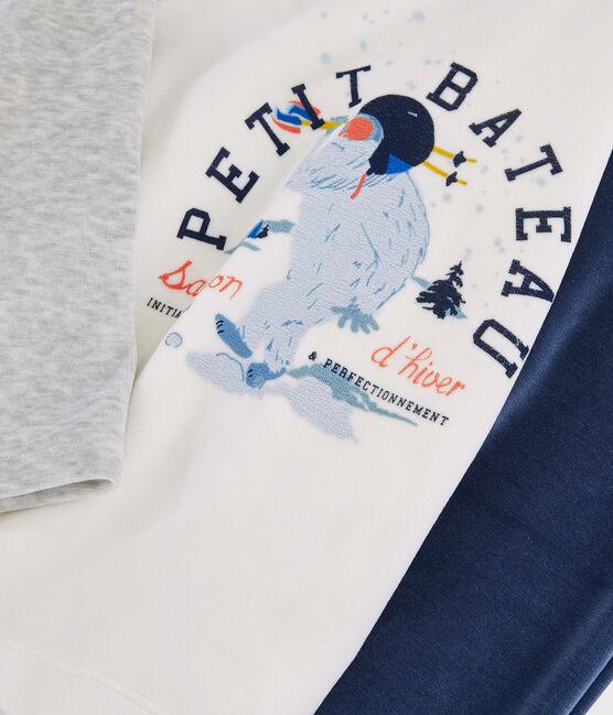 Boys' Velour Pyjamas Beluga grey / Multico white