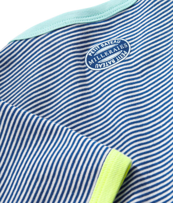 Boys' Ribbed Short Pyjamas Pablito blue / Marshmallow white