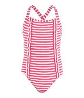Girls' Sunproof Swimsuit Geisha pink / Marshmallow white
