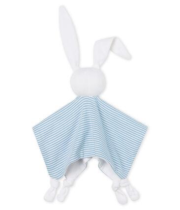 Babies' Ribbed Bunny Comforter Acier blue / Marshmallow white