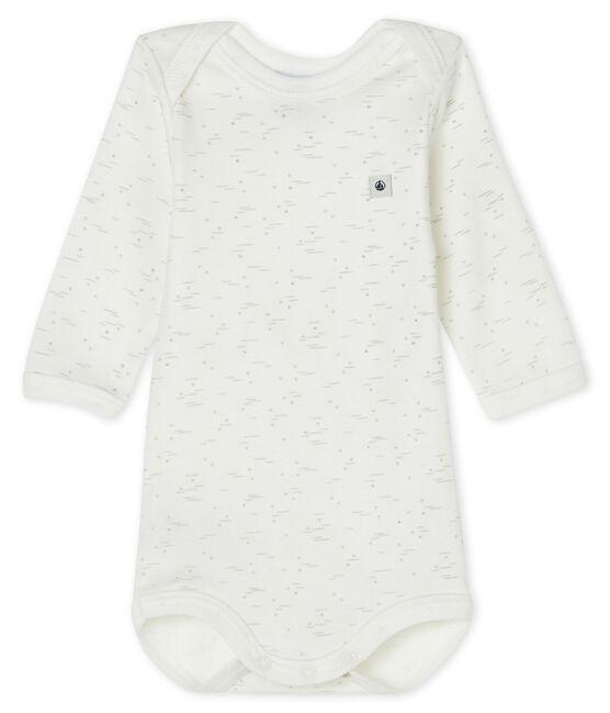 Babies' long-sleeved bodysuit Marshmallow white / Multico white