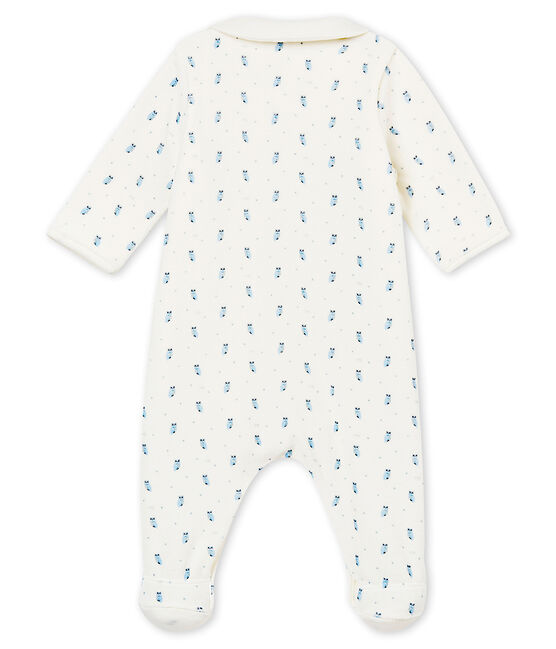Baby boy's Bodyjama in print cotton velour Marshmallow white / Multico white