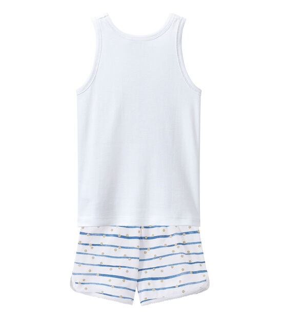 Short pyjama Ecume white / Bleu blue