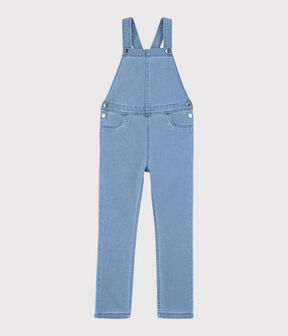 Girls' Denim Fleece Dungarees Denim clair blue