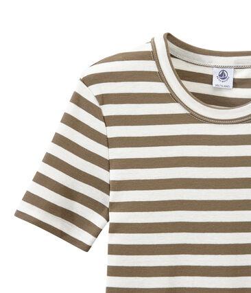 Women's T-shirt in heritage striped rib Shitake brown / Marshmallow white
