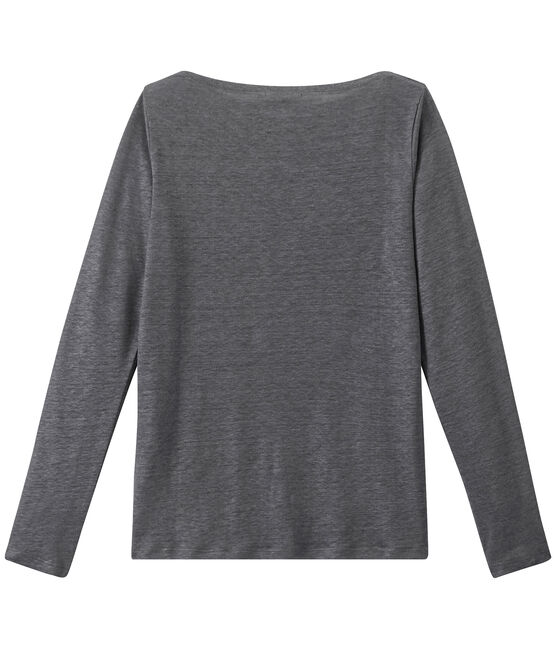 Women's iridescent linen long-sleeve tee Maki grey / Argent grey