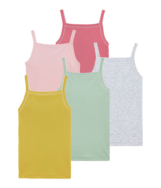 Set of 5 girls' strap vests . set