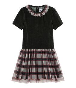 Girls' Short-Sleeved Dress Noir black / Multico white
