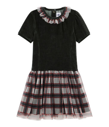Girls' Short-Sleeved Dress Noir black / Multico white