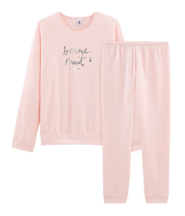 Girls' Pyjamas in Extra Warm Brushed Terry Towelling Minois pink