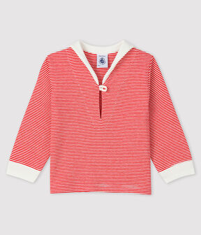 Baby boy's pinstriped t-shirt Terkuit red / Marshmallow white