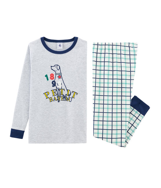 Boys' Snugfit Ribbed Pyjamas Marshmallow white / Multico white