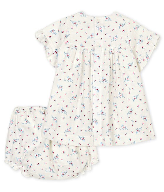 Baby girl's flower print dress with bloomers in poplin Marshmallow white / Multico white