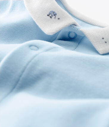 Baby boys' sleepsuit in plain cotton velour
