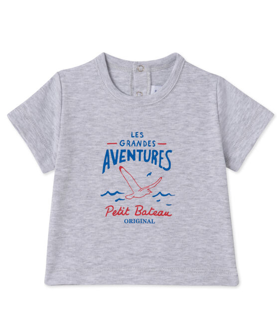 Baby boys' silkscreen print T-shirt Poussiere Chine grey
